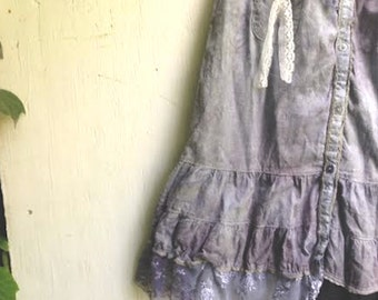SALE fairy girl hand dyed dark gray blue rustic vintage lace roses junior bridesmaid party eco prairie girl wedding party couture dress