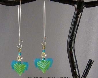 """Lampwork Glass Winged Hearts, Green, Light Blue, Medium Blue, Yellow, 3"""" long - Hand Crafted Artisan Jewelry"""