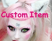 Reserved for Joeleen Small Red Brown White Fox Fluffy Fur Leather Animal Ears Kitsune Wolf Fox Cosplay Furry Goth Fantasy LARP