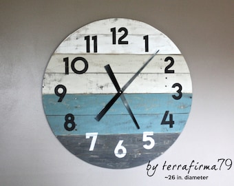 "Pallet Wood Clock, LARGE 26"" Round Reclaimed Wood Clock. Beach House style. distressed...Coastal Decor.  Customize Your Clock"