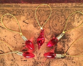 Knitting Stitch Markers - Red Lights and Ornament