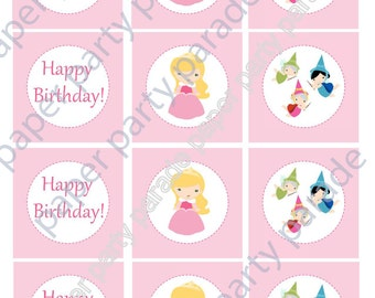 Instant Download DIY Printable Sleeping Beauty Aurora Princess Party Cupcake Toppers - Print at Home