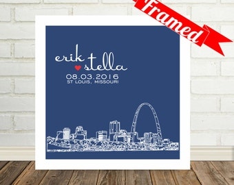 Personalized Gift Custom Wedding Gift Skyline Print FRAMED ART Any City Available Bridal Shower Gift Personalized Wedding Gift for Bride