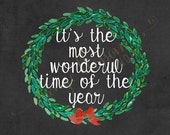 It's the most wonderful time of the year Christmas 8x10 Digital Print INSTANT DOWNLOAD