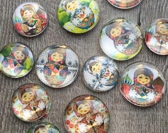 Glass Fridge Magnets Russian Dolls (set of 12 matryoshka/babushkas )