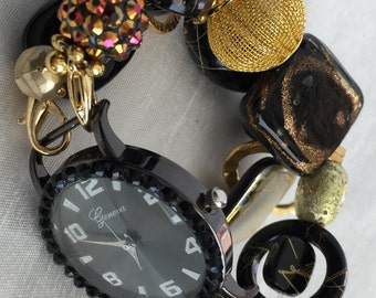 PRE~HOLIDAY SALE!!! Black and Gold Stretchy Chunky Beaded Interchangeable Watch Band