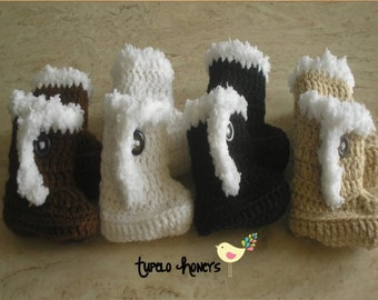 Crochet Little Uggie Booties-Baby Booties -0 - 3 Months