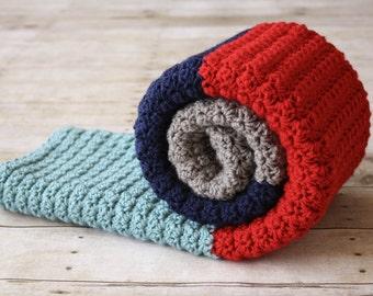 Crochet Baby Blanket, Striped Baby Blanket, Color Block Baby Blanket, Boy Baby Blanket, Girl Baby Blanket, Crib Blanket, Warm Baby Blanket