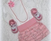 Newborn Baby Girl Take Home Outfit/Pink & White Baby Outfit/Baby Girl Shower Gift/Includes Long Sleeve Onesie/ Ruffle Skirt/ Headband/Socks