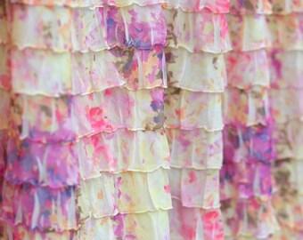 Ruffle Fabric 2 Inch Wide Monet's Garden Cascading Ruffle Fabric Boutique Quality