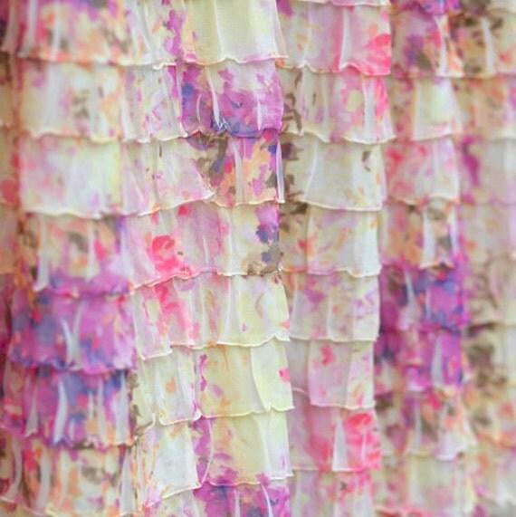 Ruffle Fabric/2 Inch Ruffle Fabric/Wide Ruffle Fabric/Spring Fabric/Summer Fabric/Dress Fabric/Ruffle Flower Fabric/Ruffle Floral Fabric