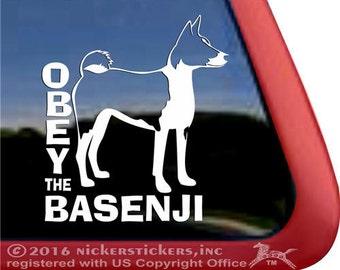 OBEY the Basenji | DC1048OBY | High Quality Adhesive Vinyl Basenji Dog Window Decal Sticker