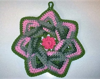 Star Flower Potholder - Pink Camo, Rose Pink, and Sage Green - 100% Cotton, Ecofriendly, Re-usable, Reversible