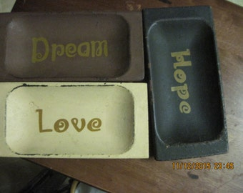 "Set of 3 Shabby Chic/Cottage Style Wood ""Hope,Love,Dream"" Display or Trinket Platters..."