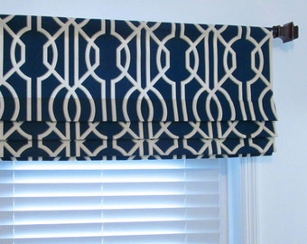 Navy Blue  FAUX ROMAN Shades  Contemporary  Modern Geometric  Mock Valance  Handmade in the USA