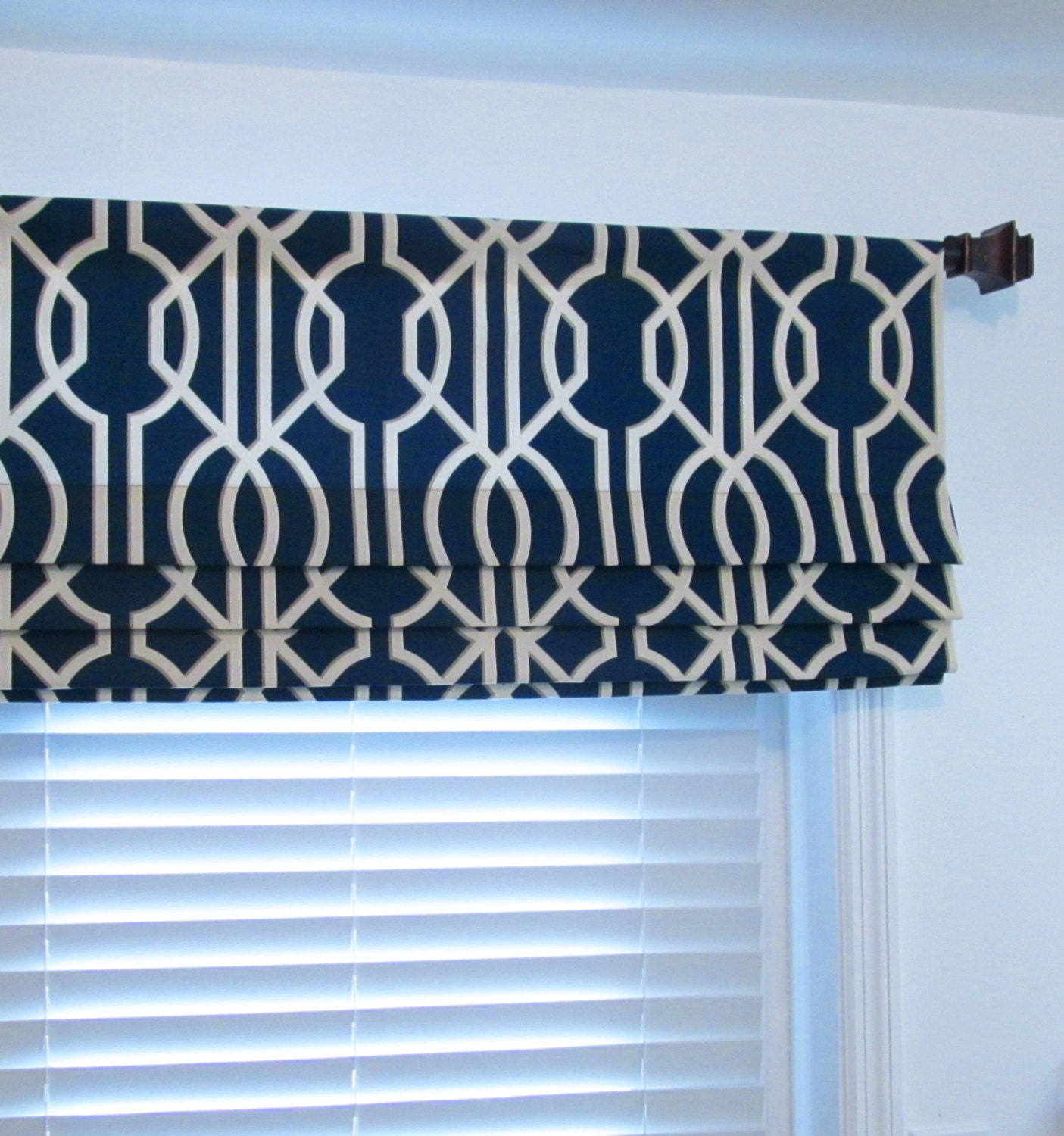 navy blue faux roman shades modern contemporary geometric. Black Bedroom Furniture Sets. Home Design Ideas