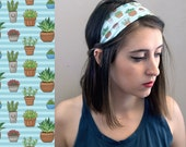 Succulent Headband - Blue Cactus Fabric / Womens Head Band / Illustrated Plant Print / Cute Hair Accessories / Wide Hair Band
