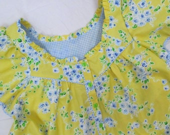 "Womens Fine Craft Summer Nightgown-House Lounger-Day Dress-Yellow Floral-Gingham-Small (34""-36"" bust)"