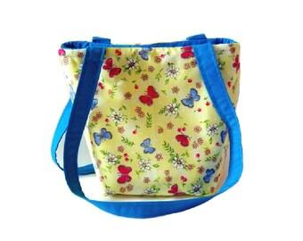Butterfly Purse, Small Tote Bag, Handmade Handbag, Yellow Fabric Bag, Floral Cloth Purse, Shoulder Bag, Teen Purse