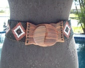 Black, Brown and White Indian Beaded Cinch Stretch Wooden Clip Belt, S/M