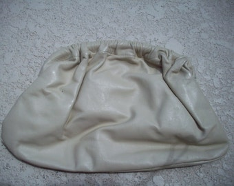 Cream Leather Clutch