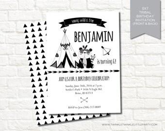 Tee Pee Panda Tribal Camping Geometrical Birthday Party Digital Invitation