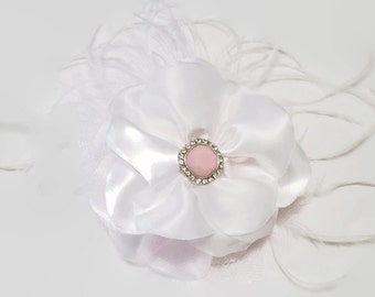 White Satin Flower Hair Clip, Hair Clips, Flower Hair Accessory, Accessory, Girl's Hair Clips