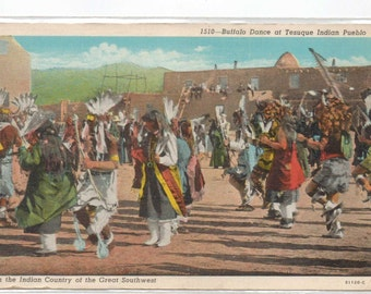 "New Mexico, Vintage Postcard, ""Buffalo Dance at Tesuque Indian Pueblo,""  1920s, #838."