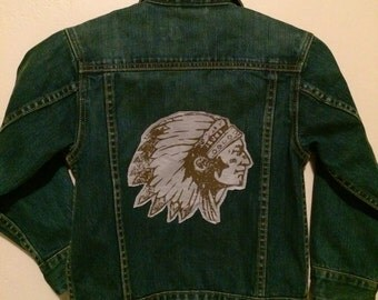 Iconic Native American Indian Chief image patch on back of kids denim jacket small