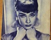 1955 Vintage French film magazine with Audrey Hepburn in Sabrina