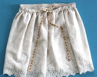 ON SALE Skirt Cotton Petticoat Victorian / Ivory White Beige Green Ribbon / Medium - IVY Souvenir Skirt Ready-to-Ship Ooak