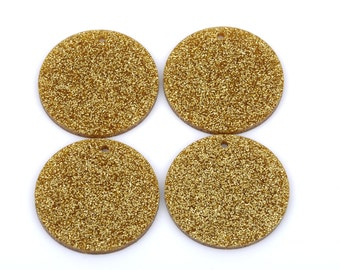 10 GLITTER CIRCLE Disc Laser Cut Acrylic shapes, acrylic blanks, GOLD Glitter Acrylic, for keychains, pendants, you choose size, Lca0203