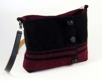 Felted Wool CROSS-BODY BAG: Cranberry & Black w Leather Buttons and Strap (Ooak) Upcycled Black-Cranberry Boiled Wool Sweater #002