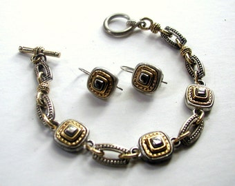 Vintage Liz Claiborne Marcasite Link and Chain Bracelet and Earrings Set Signed LC Gold Silver Bronze Tone Enamel