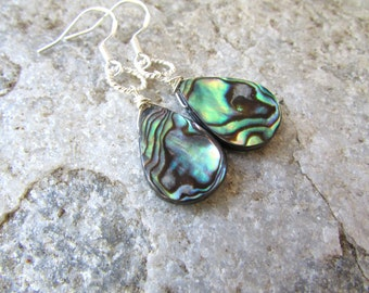 Abalone Earrings silver tear drop lightweight dangle earrings