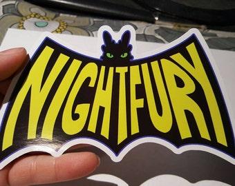 How To Train Your Dragon Toothless Night Fury Batman Logo Sticker