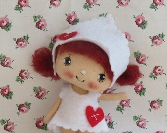 OOAK gift  tiny cloth doll hand made hand painted