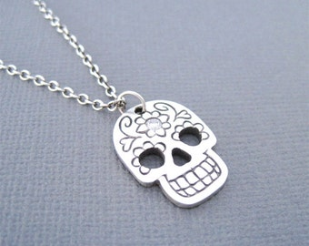 Day of the Dead Necklace, Day of the Dead Skull, Silver Sugar Skull, Silver Skull