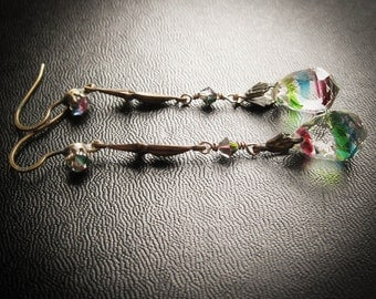 Long Vintage Bohemian Party Earrings. Gypsy Crystals