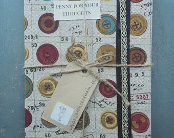 Button fabric covered notebook