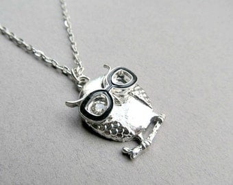 Silver Hipster Owl Necklace