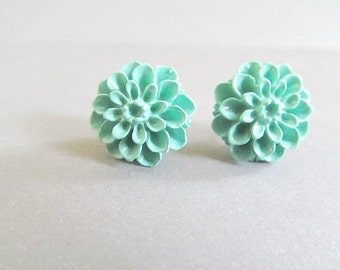 Vintage Blue Dahlia Stud Earrings