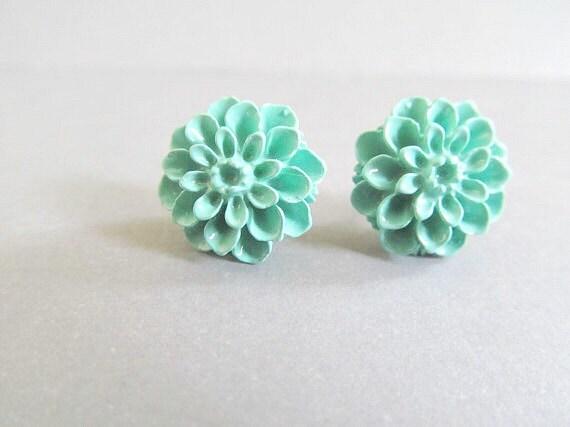 Vintage Blue Dahlia Stud Earrings