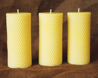 "100% Pure Beeswax Pillar Candles w/ Honeycomb Texture - 2-1/4""x 5"" (Quantity of 3)"