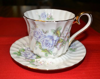 Lefton Blue Floral Cup and Saucer
