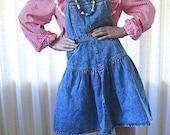 on sale Jean Overall Dress Jumper 80s Denim Medium Size 7 Vintage 1980s Clothing