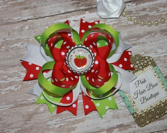 Apple of Mommy's eye Boutique Hairbow , mothers day hair bow ,  apple hair bow , red and green hair bow , hair bows for girls , 5 inch bow