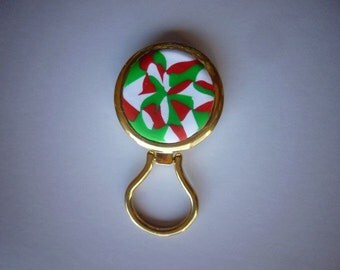 Polymer Clay Magnetic Eye Glass Holder or Magnetic Badge Holder in Red, Green and White Christmas colors