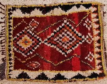 FREE SHIPPING WORLDWIDE TT20074 vintage boucherouite rug, moroccan rugs , rag rug, berber tribal art, morocco carpets, wall art