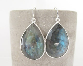 Labradorite Silver Earrings - Gemstone Earrings - Drop Earrings - Silver Earrings - Labradorite Jewelry